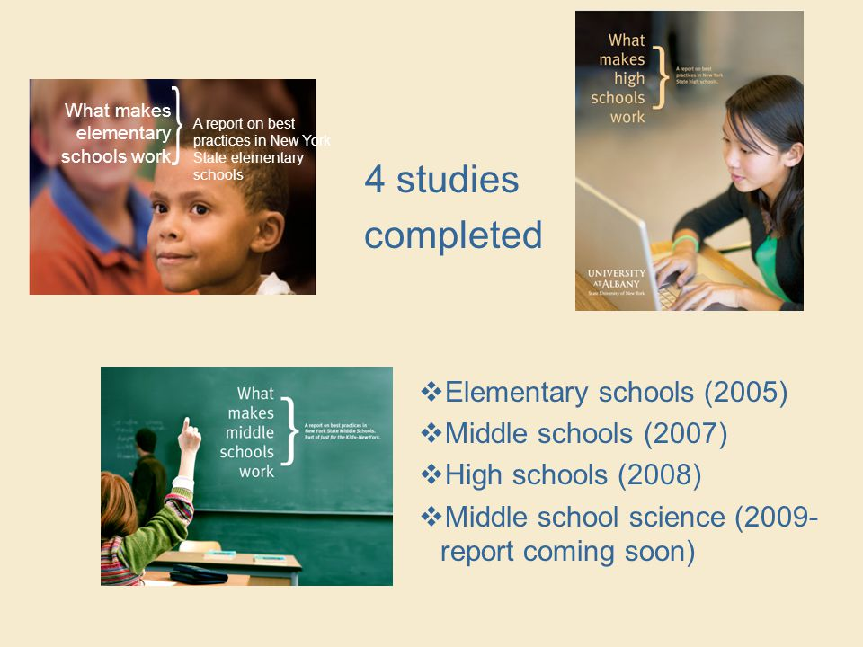 What makes elementary schools work A report on best practices in New York State elementary schools 4 studies completed  Elementary schools (2005)  Middle schools (2007)  High schools (2008)  Middle school science (2009- report coming soon)