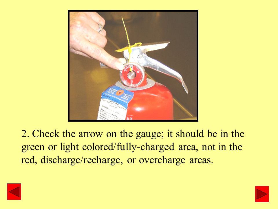 2. Check the arrow on the gauge; it should be in the green or light colored/fully-charged area, not in the red, discharge/recharge, or overcharge area
