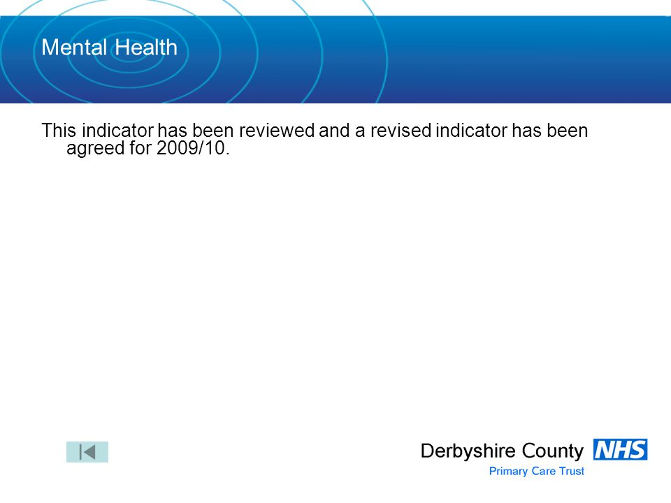Mental Health This indicator has been reviewed and a revised indicator has been agreed for 2009/10.