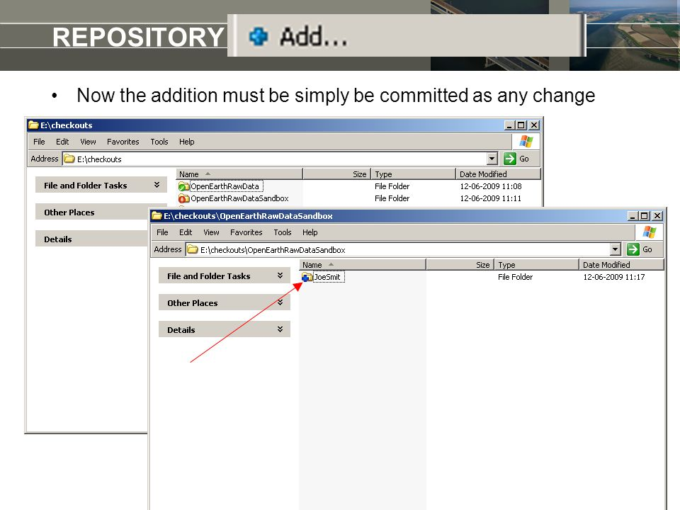 REPOSITORY add a raw dataset Now the addition must be simply be committed as any change