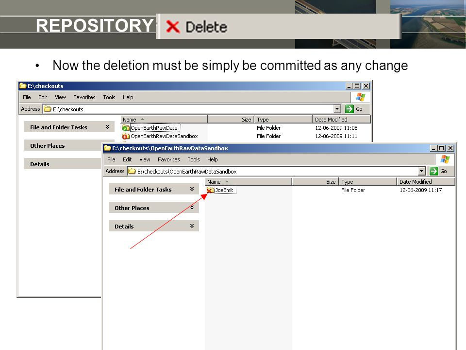 REPOSITORY add a raw dataset Now the deletion must be simply be committed as any change