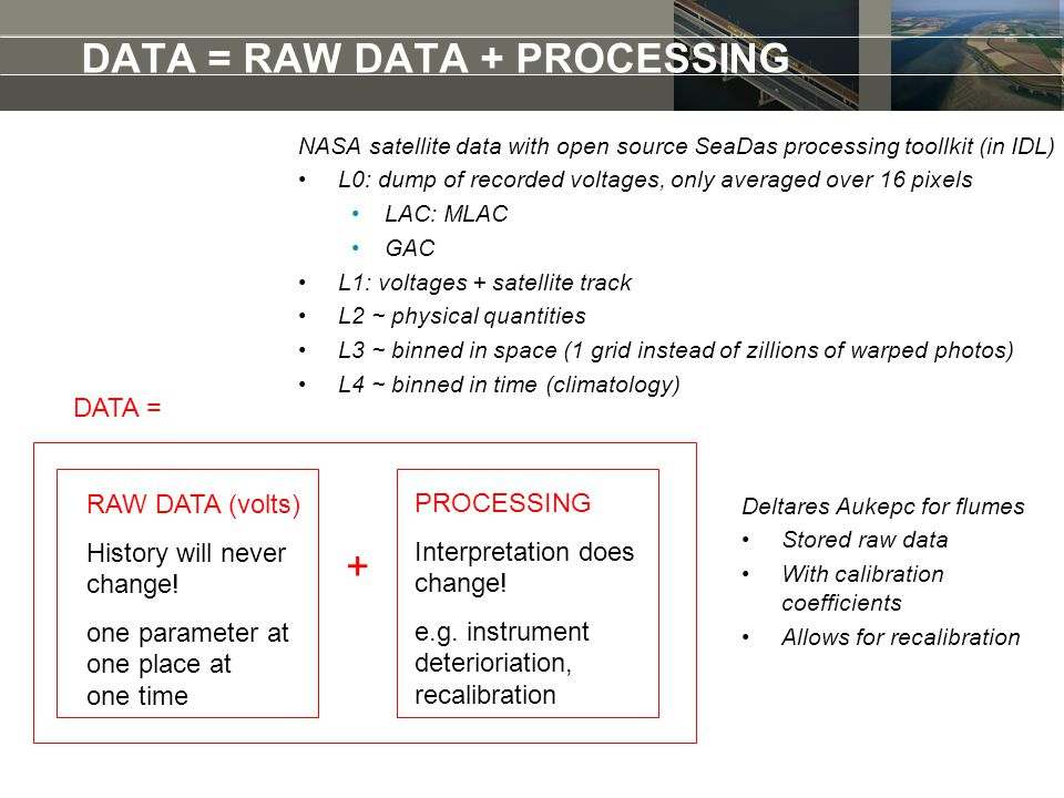 DATA = RAW DATA + PROCESSING DATA = RAW DATA (volts) History will never change.
