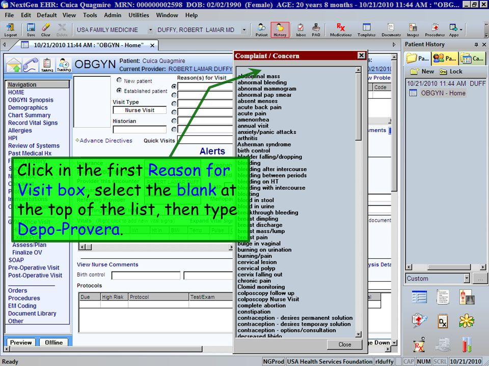Click in the first Reason for Visit box, select the blank at the top of the list, then type Depo-Provera.