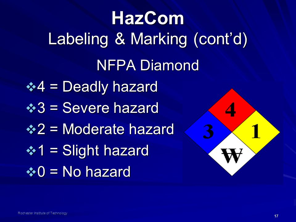 17 Rochester Institute of Technology HazCom Labeling & Marking (cont'd) NFPA Diamond  4 = Deadly hazard  3 = Severe hazard  2 = Moderate hazard  1 = Slight hazard  0 = No hazard