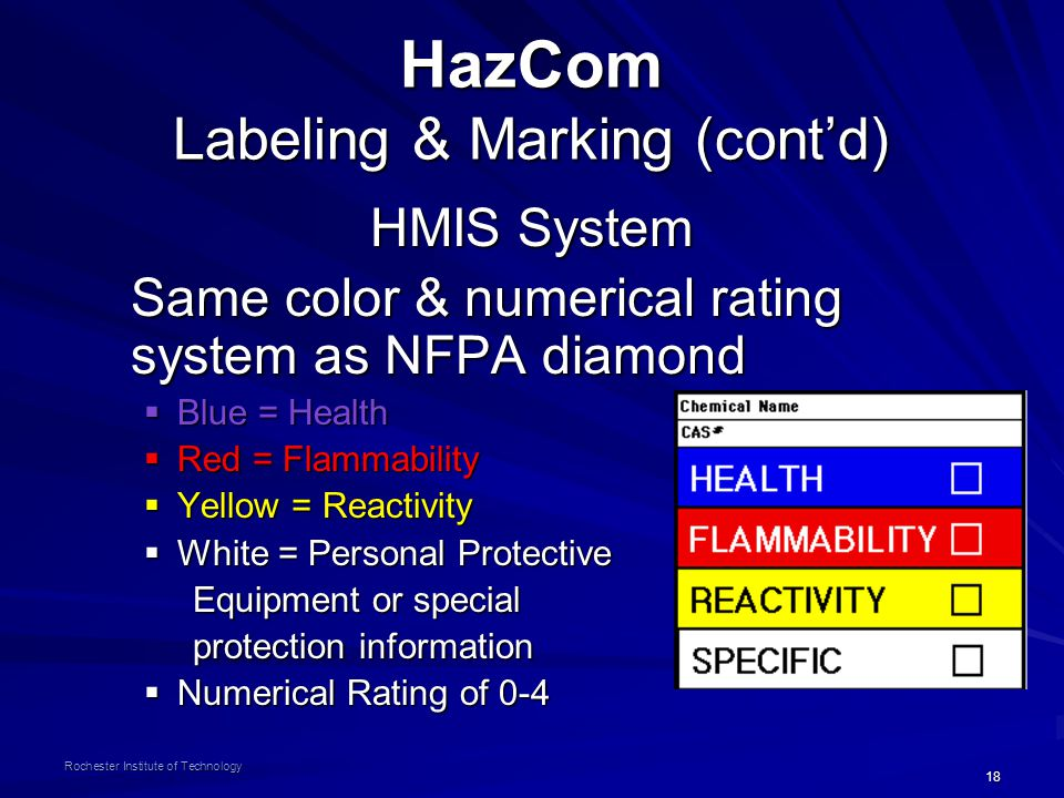 18 Rochester Institute of Technology HazCom Labeling & Marking (cont'd) HMIS System Same color & numerical rating system as NFPA diamond  Blue = Health  Red = Flammability  Yellow = Reactivity  White = Personal Protective Equipment or special Equipment or special protection information protection information  Numerical Rating of 0-4