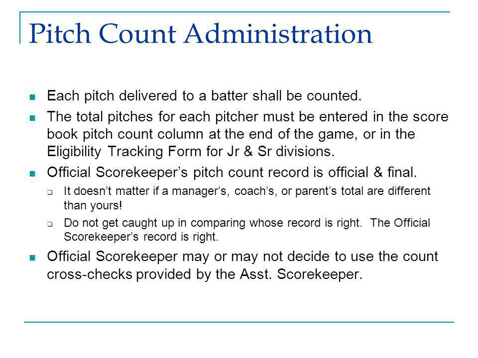 Pitch Count Administration Each pitch delivered to a batter shall be counted.