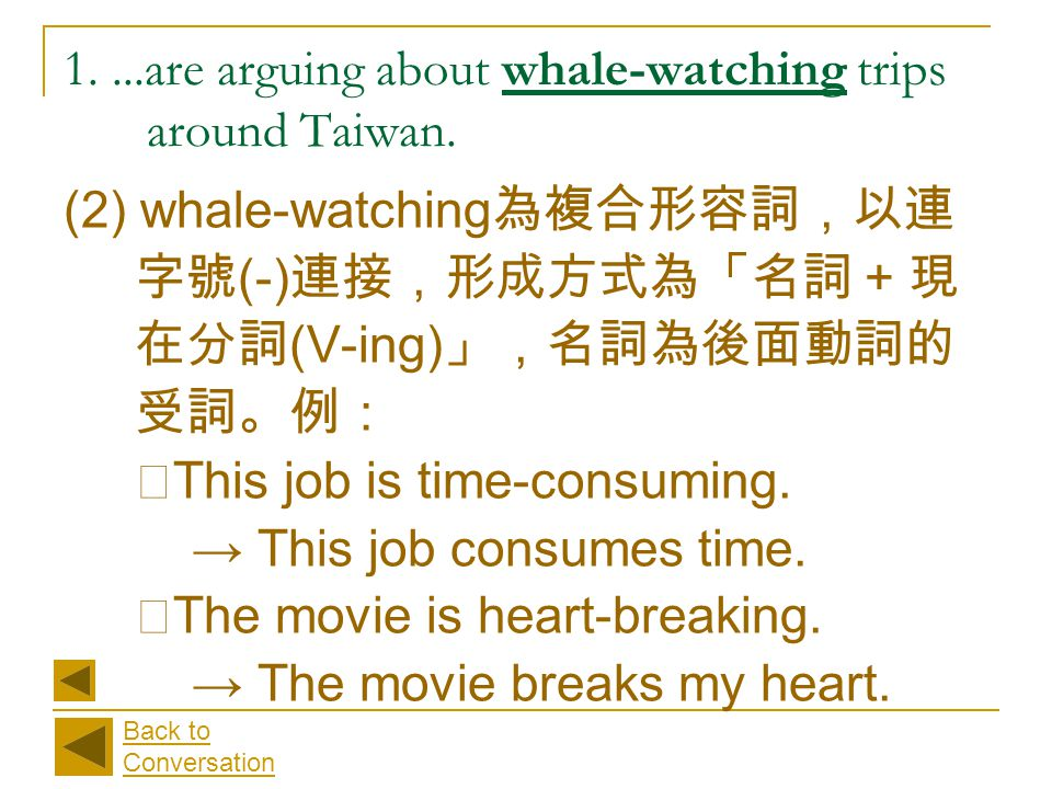(2) whale-watching 為複合形容詞,以連 字號 (-) 連接,形成方式為「名詞 + 現 在分詞 (V-ing) 」,名詞為後面動詞的 受詞。例: ‧ This job is time-consuming. → This job consumes time. ‧ The movie i