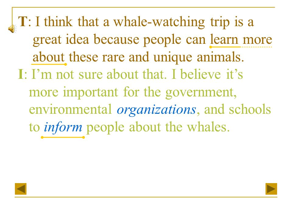 T: I think that a whale-watching trip is a great idea because people can learn more about these rare and unique animals. I: I'm not sure about that. I
