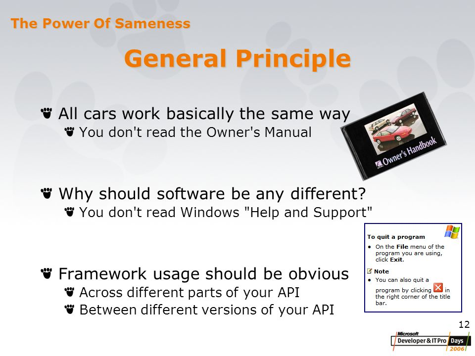 12 General Principle All cars work basically the same way You don t read the Owner s Manual Why should software be any different.