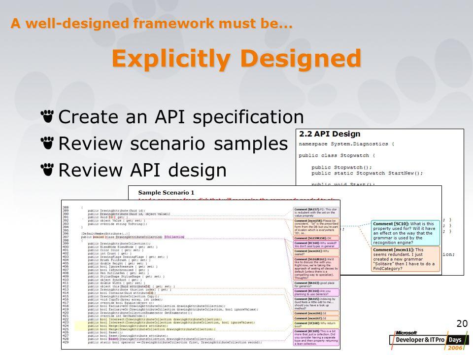 20 Explicitly Designed Create an API specification Review scenario samples Review API design A well-designed framework must be...
