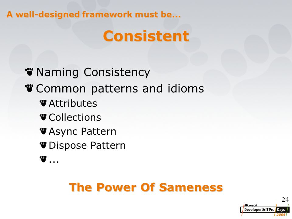 24 Consistent Naming Consistency Common patterns and idioms Attributes Collections Async Pattern Dispose Pattern...