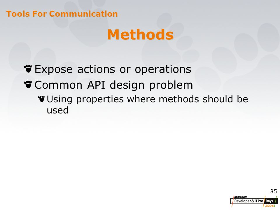35 Methods Expose actions or operations Common API design problem Using properties where methods should be used Tools For Communication