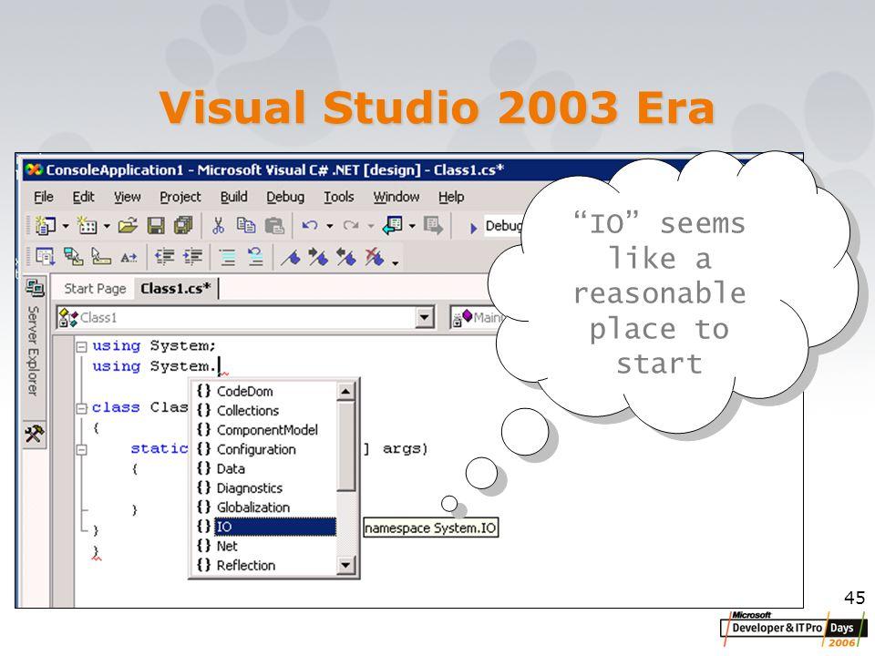 45 Visual Studio 2003 Era IO seems like a reasonable place to start