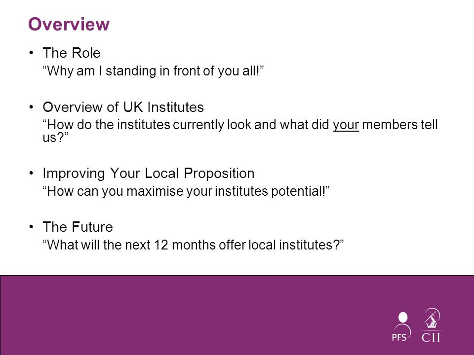 Improving Your Local Proposition Local Institute Grant Local Institute Manual Regional Training Higher and Further Education Links Local Institute Development Committee Area Marketing Managers