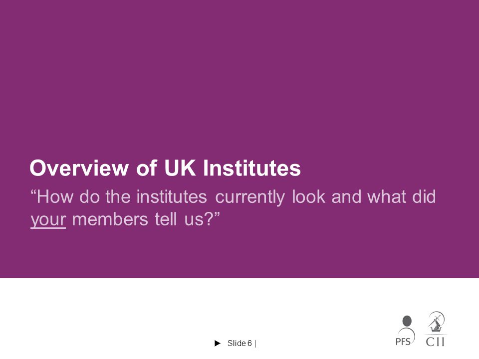  Slide 6 | Overview of UK Institutes How do the institutes currently look and what did your members tell us?