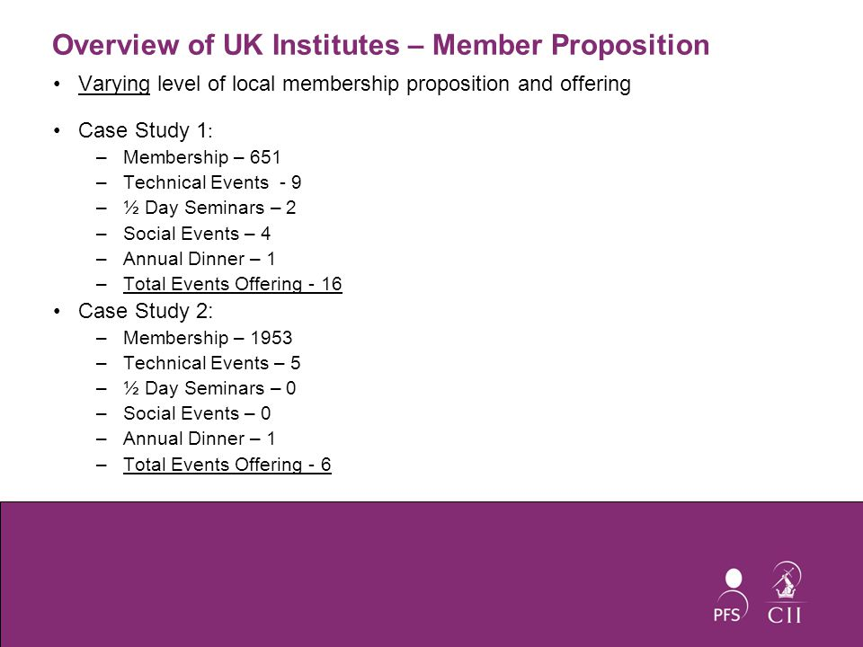 Overview of UK Institutes – Member Proposition Varying level of local membership proposition and offering Case Study 1 : –Membership – 651 –Technical Events - 9 –½ Day Seminars – 2 –Social Events – 4 –Annual Dinner – 1 –Total Events Offering - 16 Case Study 2: –Membership – 1953 –Technical Events – 5 –½ Day Seminars – 0 –Social Events – 0 –Annual Dinner – 1 –Total Events Offering - 6