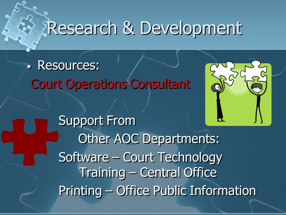 Research & Development Resources: Court Operations Consultant Support From Other AOC Departments: Software – Court Technology Training – Central Office Printing – Office Public Information Resources: Court Operations Consultant Support From Other AOC Departments: Software – Court Technology Training – Central Office Printing – Office Public Information