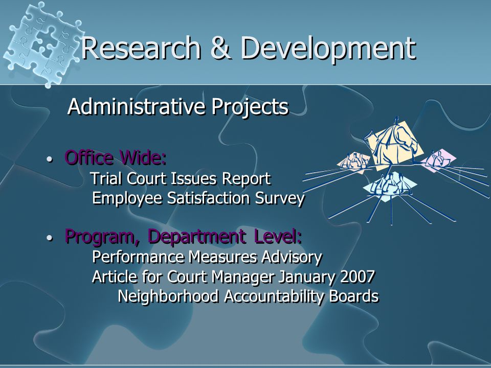 Research & Development Administrative Projects Office Wide: Trial Court Issues Report Employee Satisfaction Survey Program, Department Level: Performance Measures Advisory Article for Court Manager January 2007 Neighborhood Accountability Boards Administrative Projects Office Wide: Trial Court Issues Report Employee Satisfaction Survey Program, Department Level: Performance Measures Advisory Article for Court Manager January 2007 Neighborhood Accountability Boards