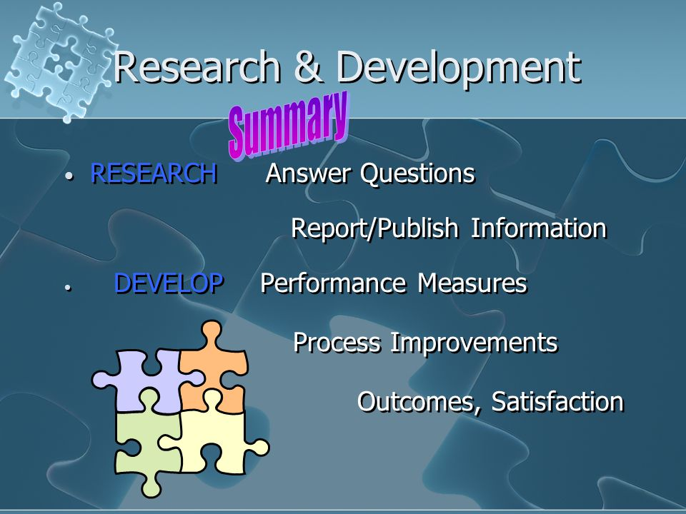 Research & Development RESEARCH Answer Questions Report/Publish Information DEVELOP Performance Measures Process Improvements Outcomes, Satisfaction RESEARCH Answer Questions Report/Publish Information DEVELOP Performance Measures Process Improvements Outcomes, Satisfaction