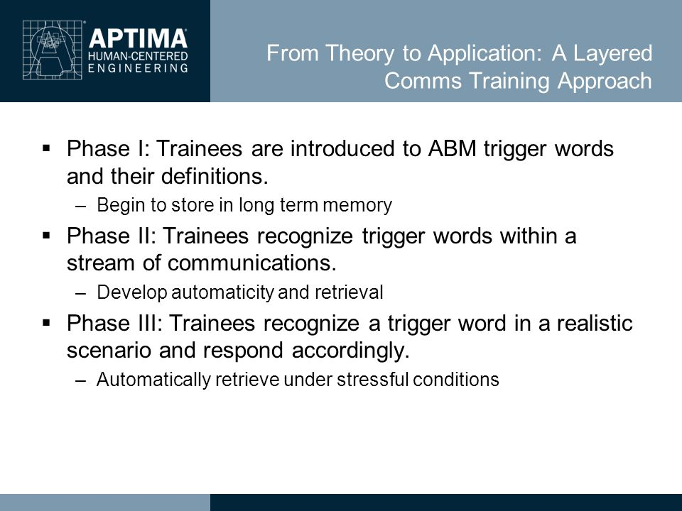 From Theory to Application: A Layered Comms Training Approach  Phase I: Trainees are introduced to ABM trigger words and their definitions.