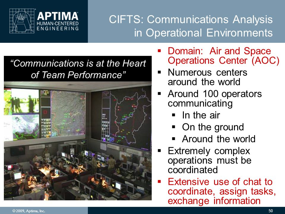 CIFTS: Communications Analysis in Operational Environments  2009, Aptima, Inc.