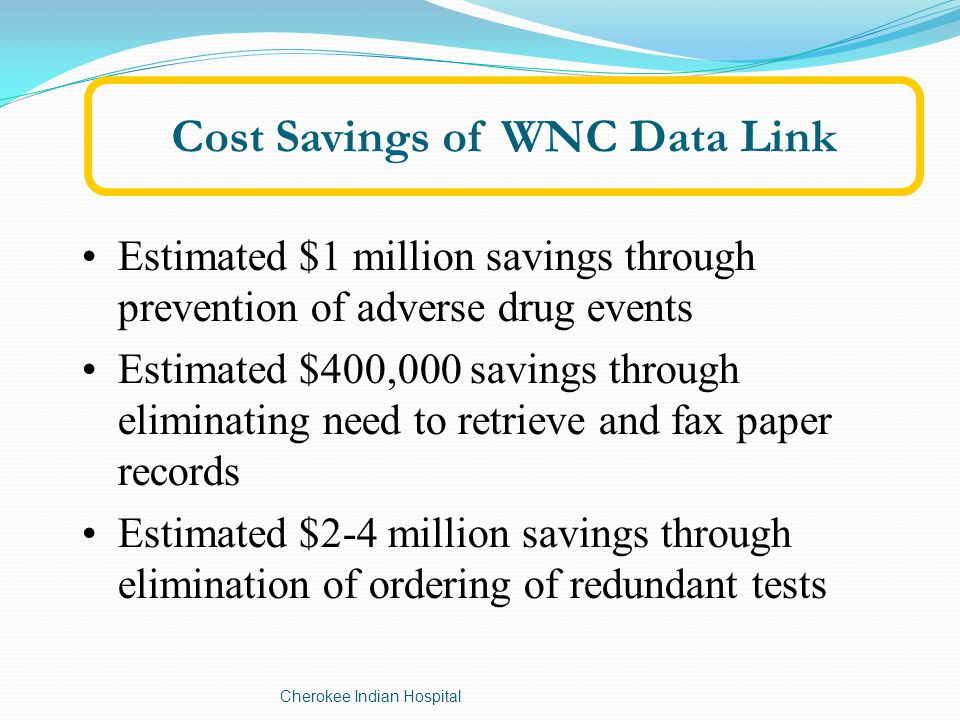 Cost Savings of WNC Data Link Estimated $1 million savings through prevention of adverse drug events Estimated $400,000 savings through eliminating need to retrieve and fax paper records Estimated $2-4 million savings through elimination of ordering of redundant tests