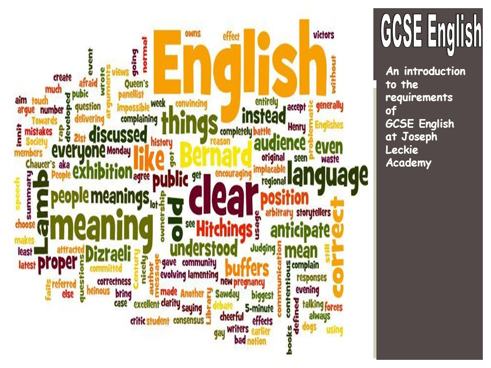 An introduction to the requirements of GCSE English at Joseph Leckie Academy