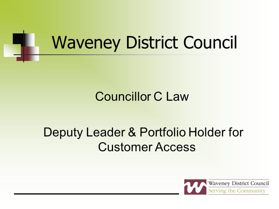 Waveney District Council Councillor C Law Deputy Leader & Portfolio Holder for Customer Access