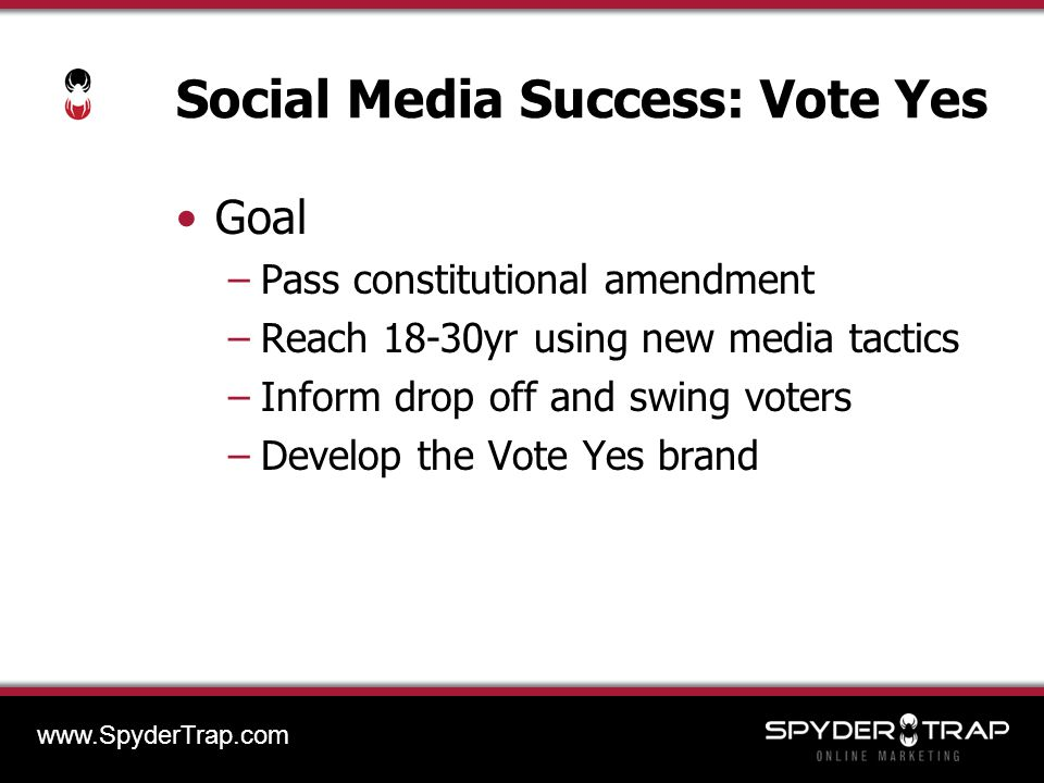 Social Media Success: Vote Yes Goal –Pass constitutional amendment –Reach 18-30yr using new media tactics –Inform drop off and swing voters –Develop the Vote Yes brand www.SpyderTrap.com