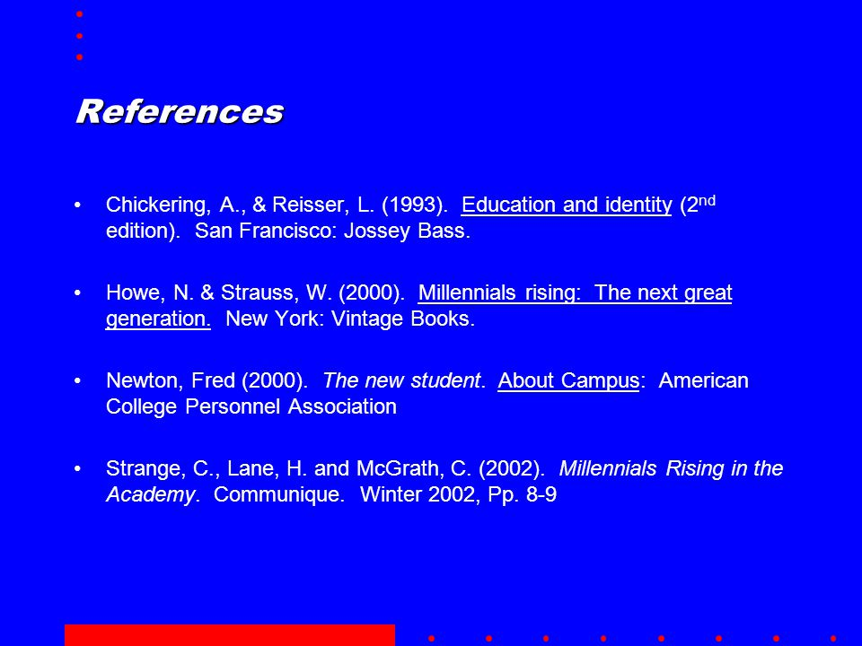 References Chickering, A., & Reisser, L.(1993). Education and identity (2 nd edition).