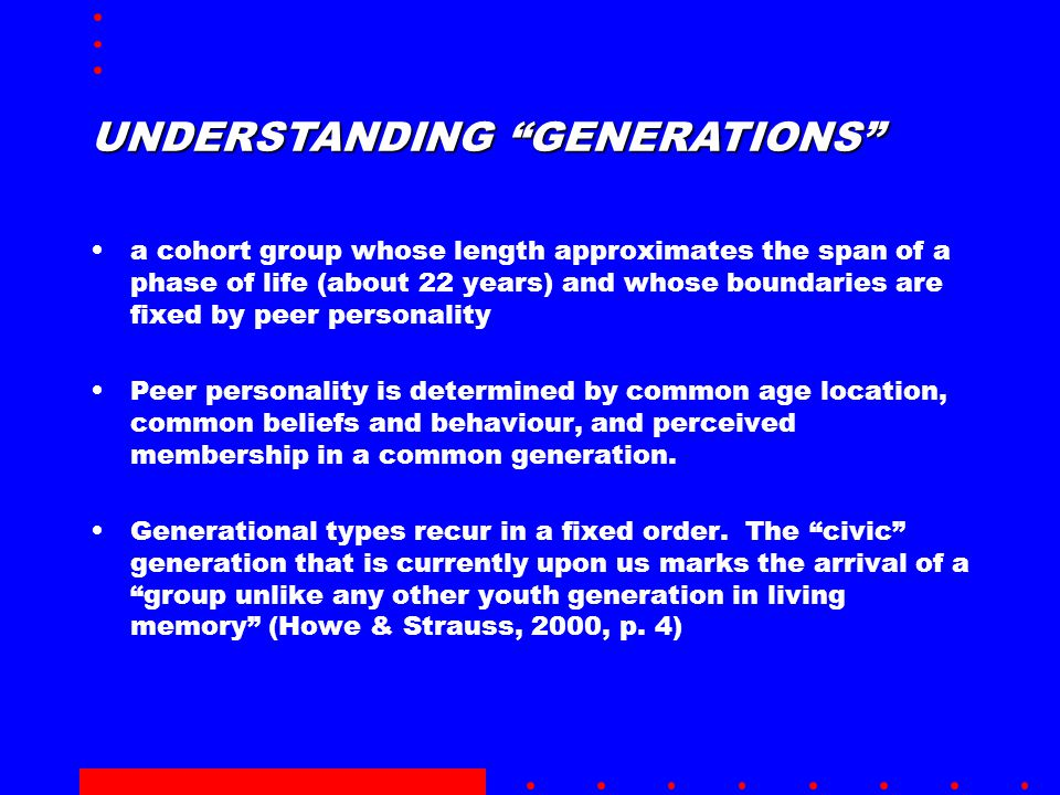 UNDERSTANDING GENERATIONS a cohort group whose length approximates the span of a phase of life (about 22 years) and whose boundaries are fixed by peer personality Peer personality is determined by common age location, common beliefs and behaviour, and perceived membership in a common generation.