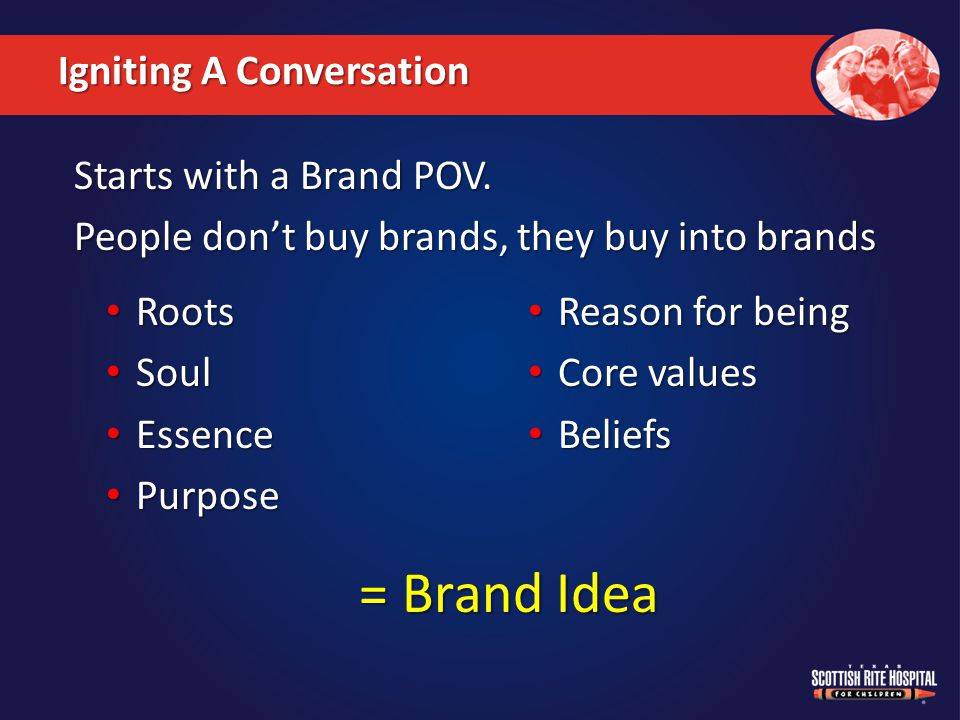 A long-term theme that drives the brand at all points of contact… Brand Idea