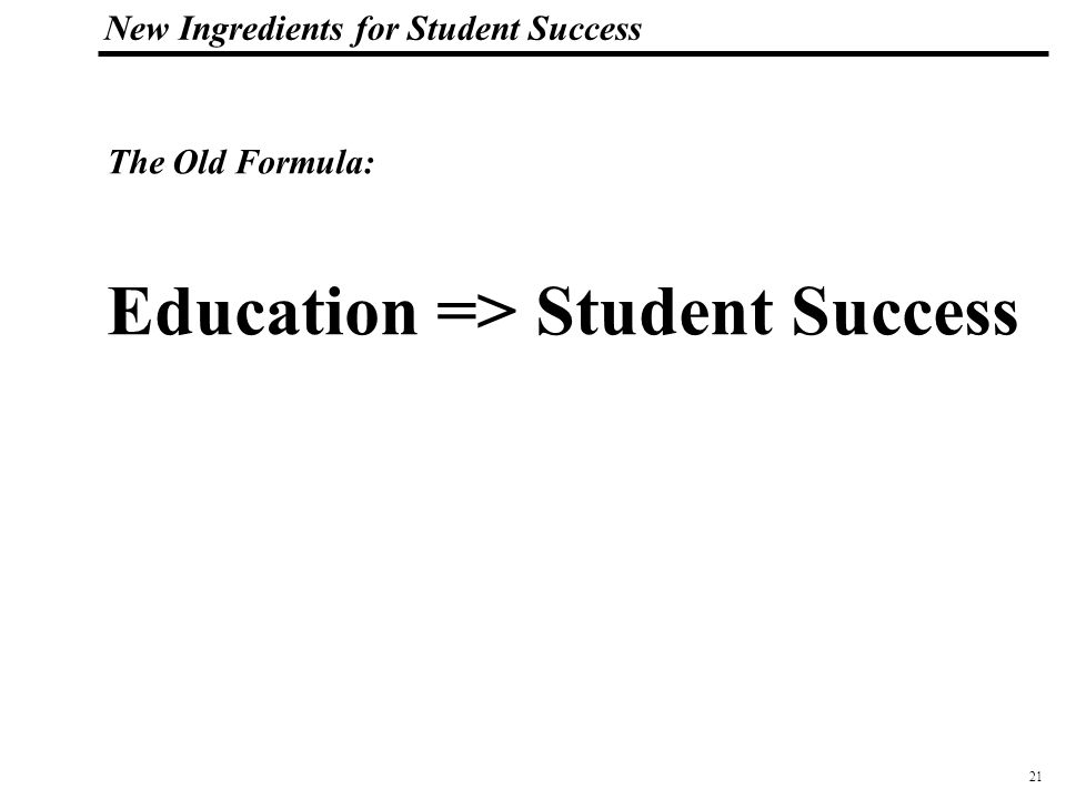 21 108319_Macros New Ingredients for Student Success Education => Student Success The Old Formula: