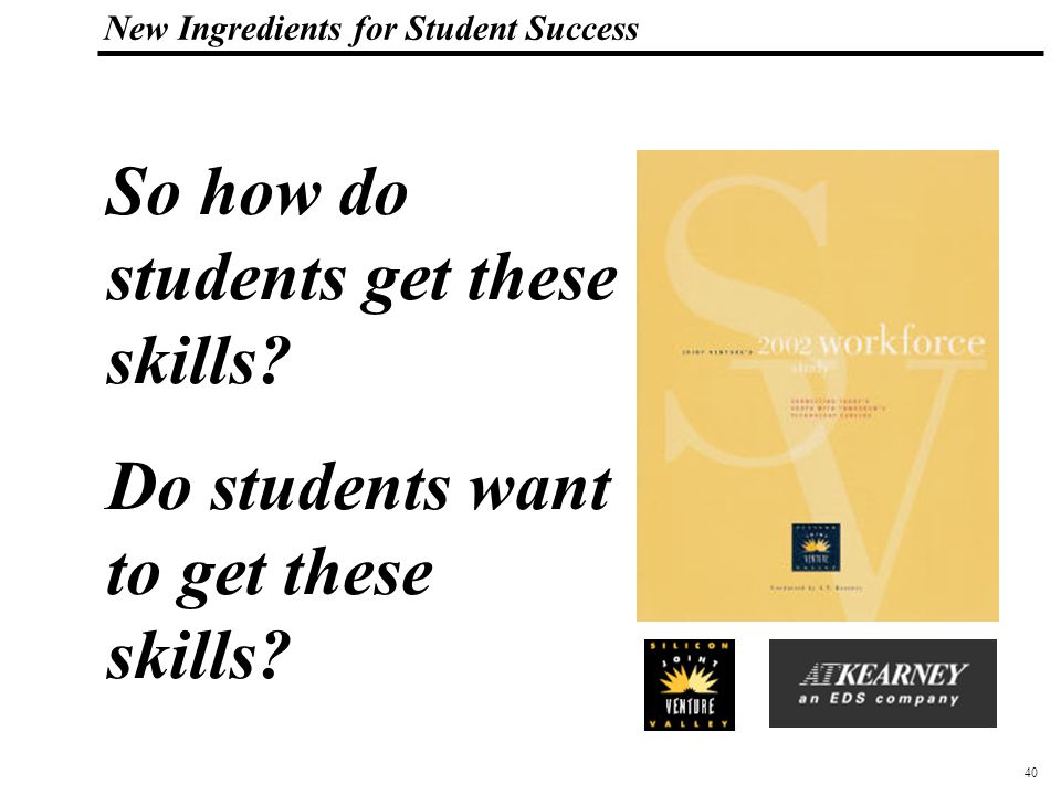 40 108319_Macros New Ingredients for Student Success So how do students get these skills.