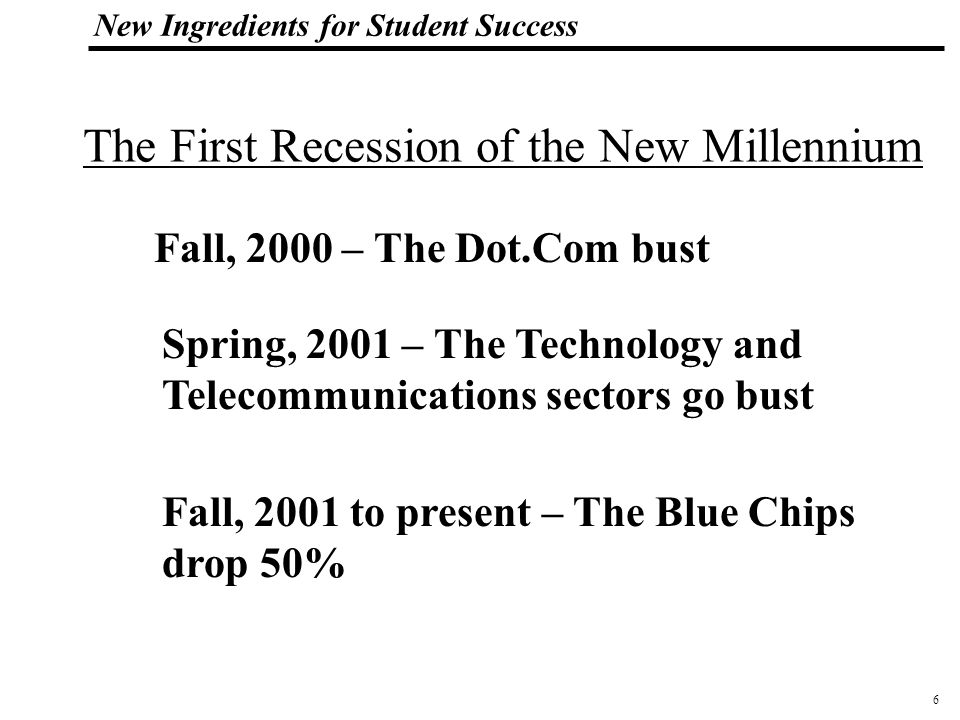 6 108319_Macros New Ingredients for Student Success Fall, 2000 – The Dot.Com bust Spring, 2001 – The Technology and Telecommunications sectors go bust Fall, 2001 to present – The Blue Chips drop 50% The First Recession of the New Millennium