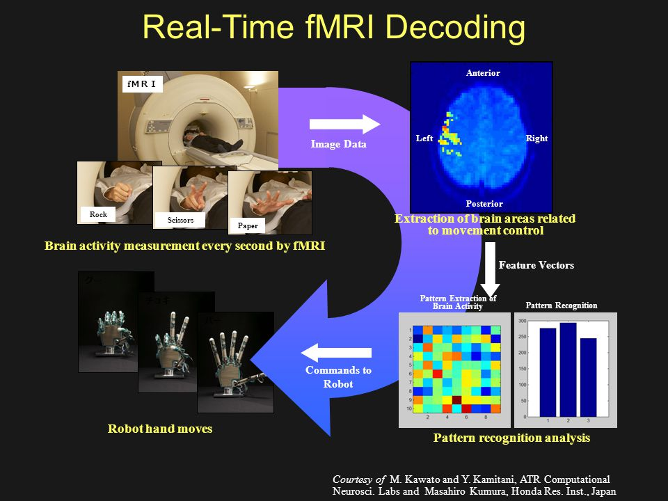 Real-Time fMRI Decoding グー チョキ パー Image Data Feature Vectors Pattern recognition analysis Commands to Robot Brain activity measurement every second by fMRI Robot hand moves Extraction of brain areas related to movement control Pattern Extraction of Brain Activity Pattern Recognition Anterior Posterior RightLeft f MRI Paper Scissors Rock Courtesy of M.