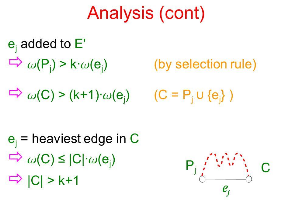 Analysis (cont) e j added to E'  w (P j ) > k· w (e j ) (by selection rule) e j = heaviest edge in C  w (C) ≤ |C|· w (e j )  |C| > k+1 PjPj C  w (