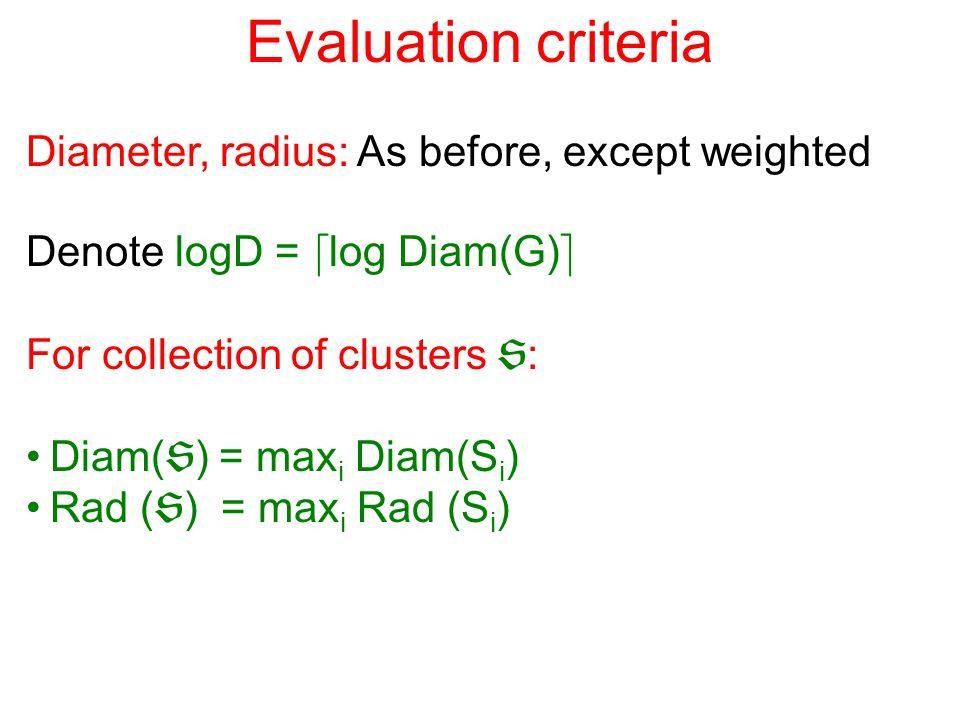 Evaluation criteria Diameter, radius: As before, except weighted Denote logD = d log Diam(G) e For collection of clusters  : Diam(  ) = max i Diam(S i ) Rad (  ) = max i Rad (S i )