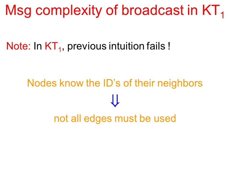 Msg complexity of broadcast in KT 1 Note: In KT 1, previous intuition fails .