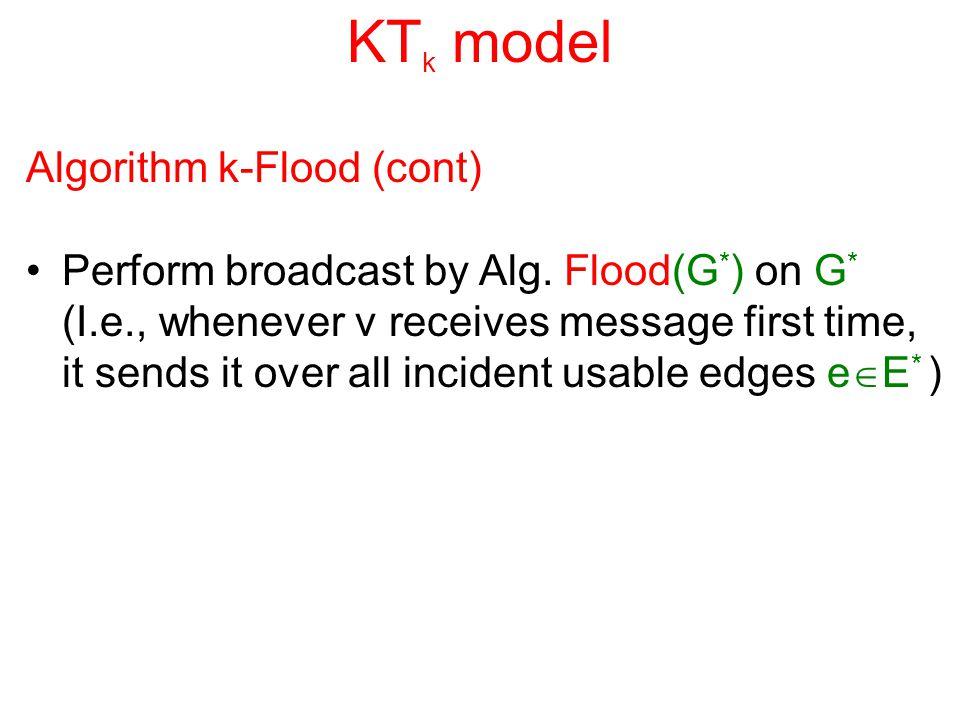 KT k model Algorithm k-Flood (cont) Perform broadcast by Alg. Flood(G * ) on G * (I.e., whenever v receives message first time, it sends it over all i