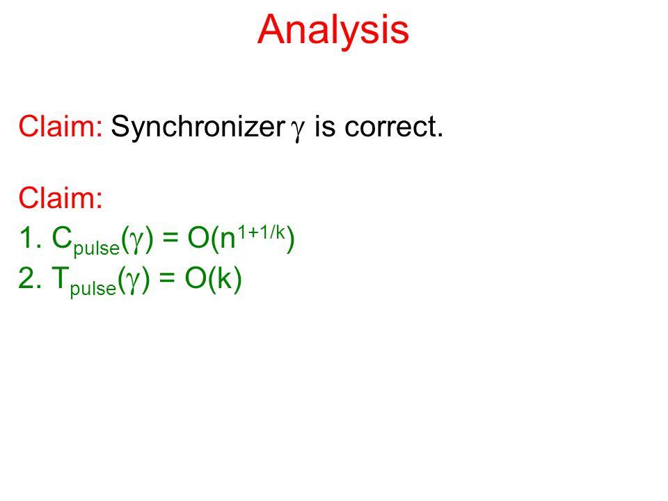 Analysis Claim: Synchronizer  is correct. Claim: 1.C pulse (  ) = O(n 1+1/k ) 2.T pulse (  ) = O(k)
