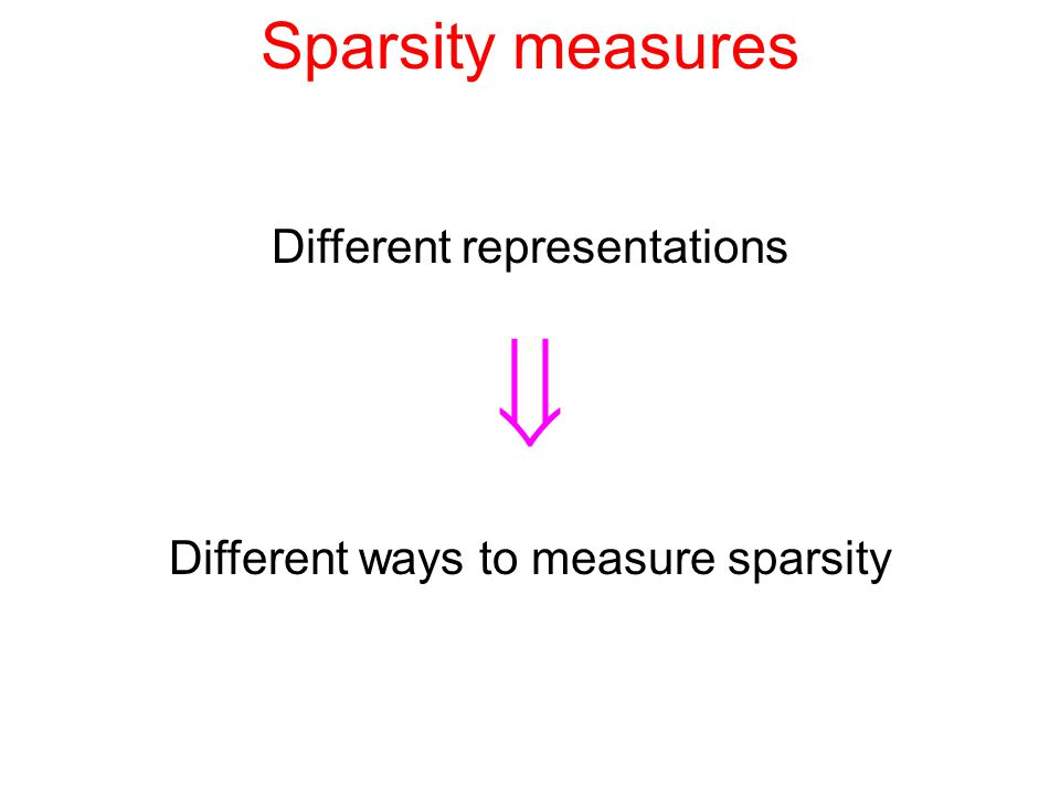 Sparsity measures Different representations  Different ways to measure sparsity