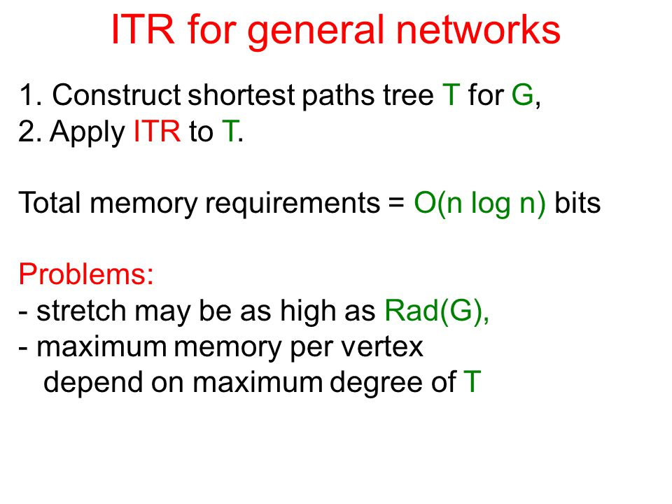 ITR for general networks 1. Construct shortest paths tree T for G, 2.