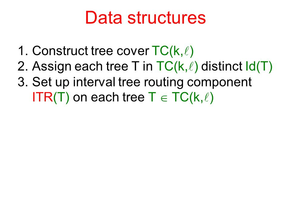 Data structures 1.Construct tree cover TC(k, ) 2.Assign each tree T in TC(k, ) distinct Id(T) 3.Set up interval tree routing component ITR(T) on each tree T  TC(k, )