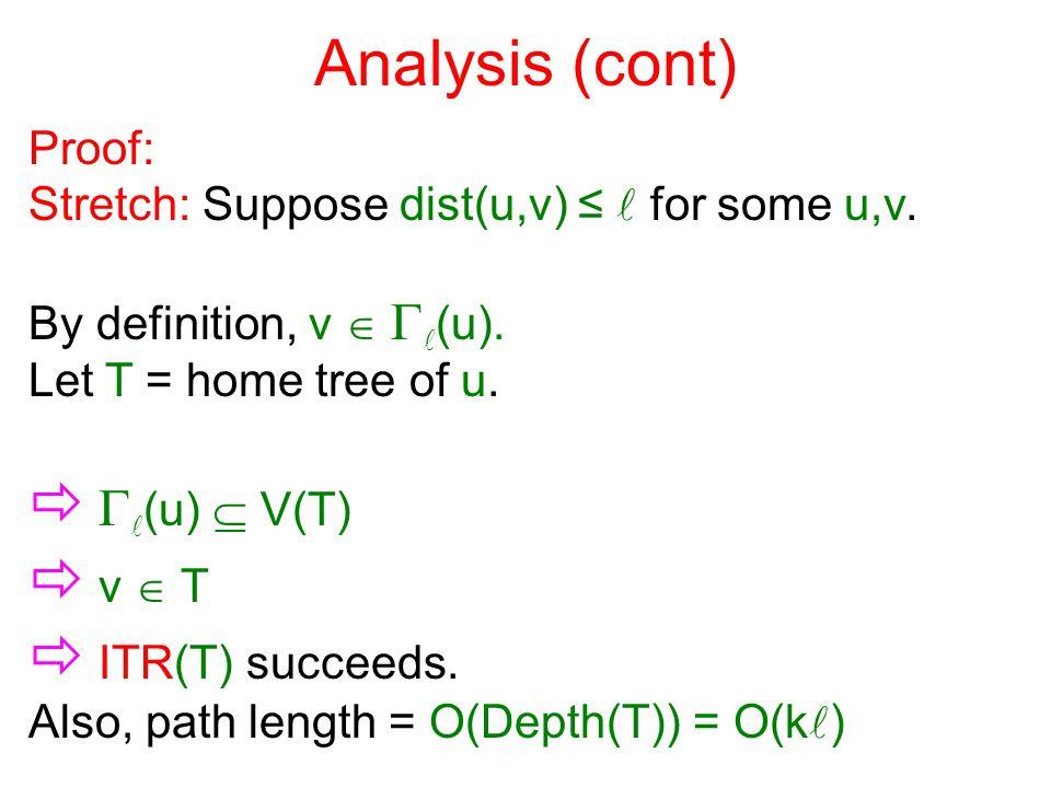 Analysis (cont) Proof: Stretch: Suppose dist(u,v) ≤ for some u,v. By definition, v   (u). Let T = home tree of u.   (u)  V(T)  v  T  ITR(T) su