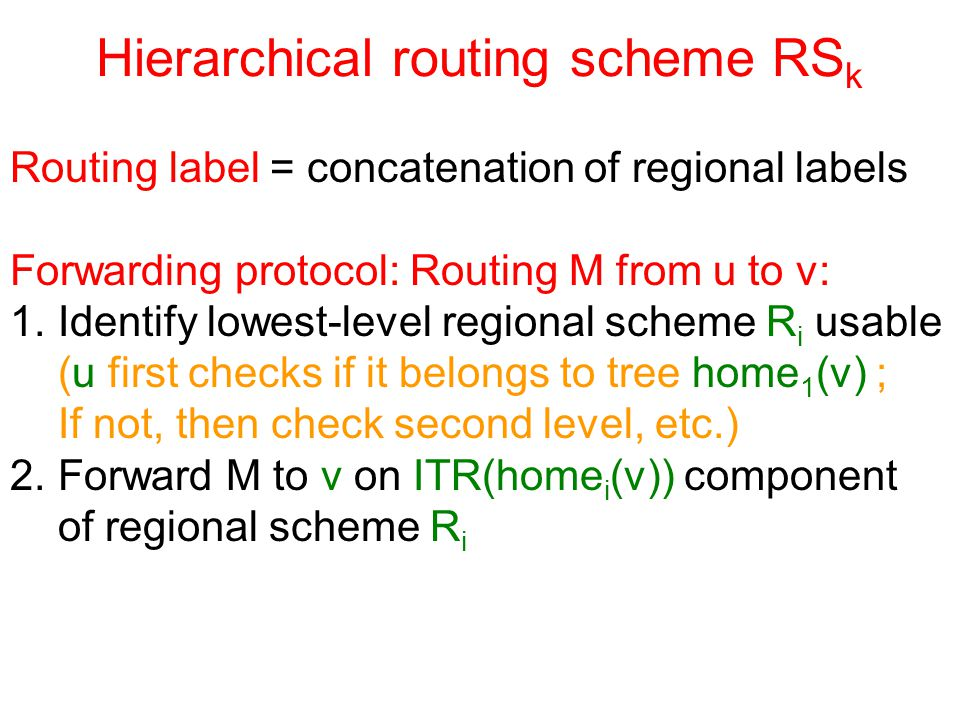 Hierarchical routing scheme RS k Routing label = concatenation of regional labels Forwarding protocol: Routing M from u to v: 1.Identify lowest-level regional scheme R i usable (u first checks if it belongs to tree home 1 (v) ; If not, then check second level, etc.) 2.Forward M to v on ITR(home i (v)) component of regional scheme R i