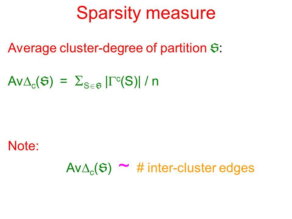 Sparsity measure Average cluster-degree of partition  : Av  c (  ) =  S   |  c (S)| / n Note: Av  c (  ) ~ # inter-cluster edges