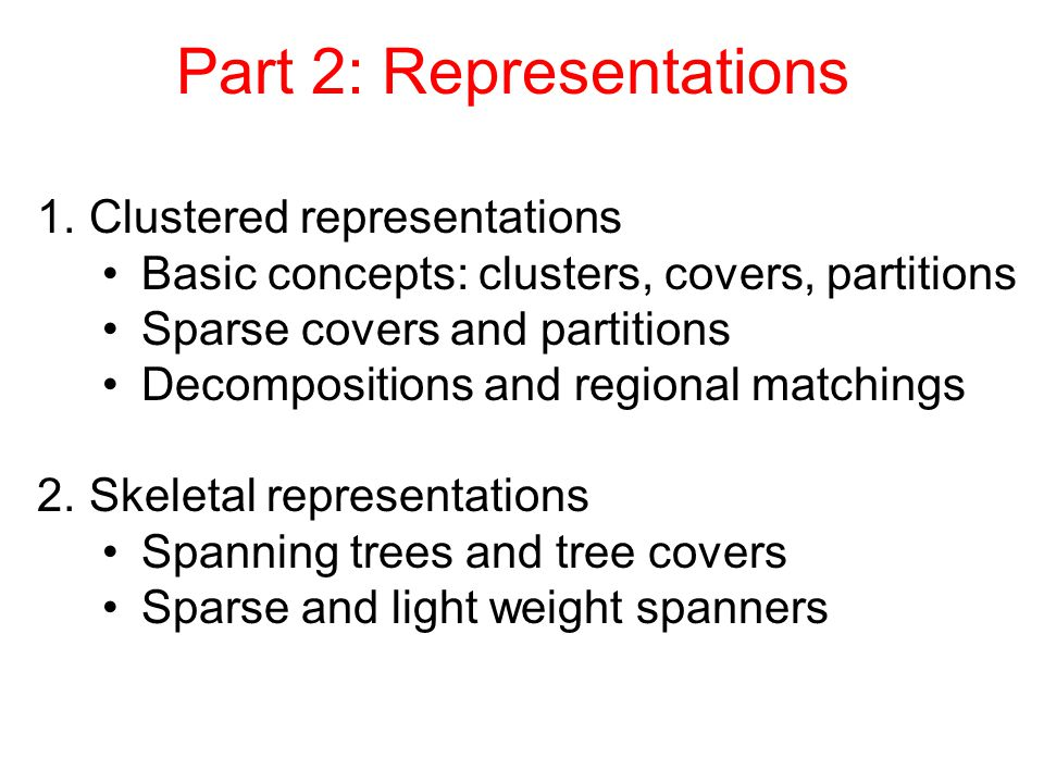 Variant - Separated partial partitions Sep(  ) = Separation of partial partition  = minimal distance between any two  clusters When Sep(  )=s, we say  is s-separated Example: 2-separated partial partition