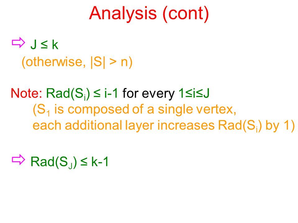 Analysis (cont)  J ≤ k (otherwise, |S| > n) Note: Rad(S i ) ≤ i-1 for every 1≤i≤J (S 1 is composed of a single vertex, each additional layer increases Rad(S i ) by 1)  Rad(S J ) ≤ k-1