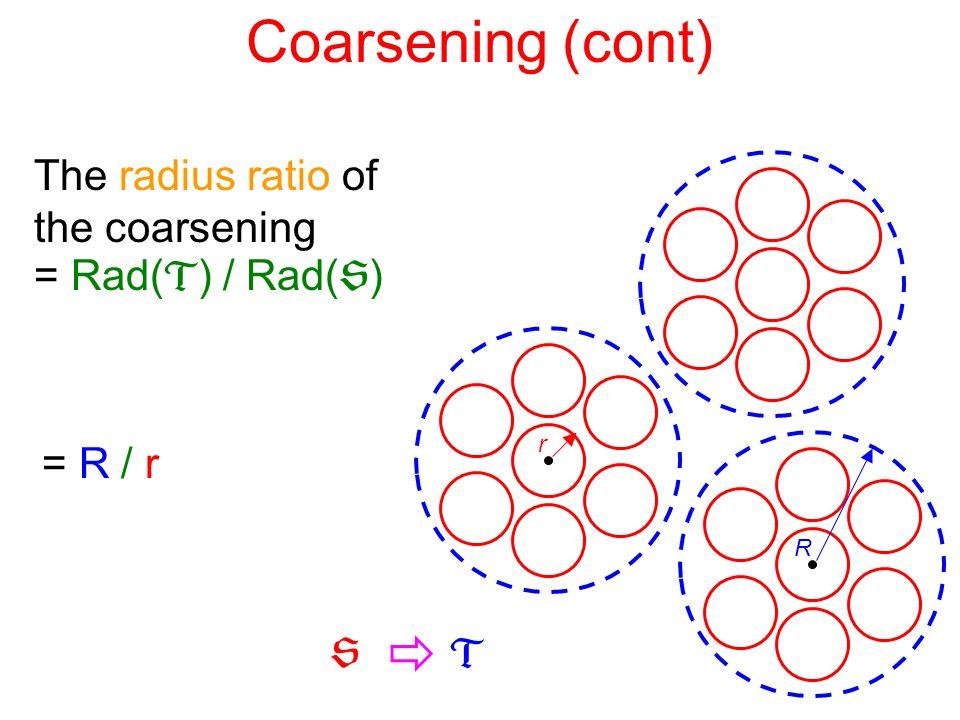 Coarsening (cont) The radius ratio of the coarsening = Rad(  ) / Rad(  ) r R = R / r  